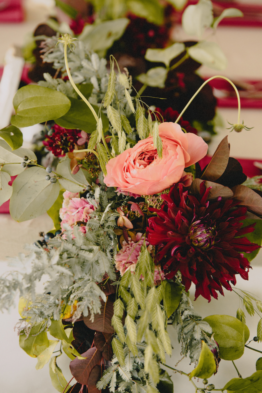 Berry Palette | Kline Farm | Tented Wedding | Romantic Antique Garden Roses | Queen Red Lime Zinnias | Philosophy Flowers | Kelly Perry | Blest Studios | North Carolina Wedding | Wedding Decor