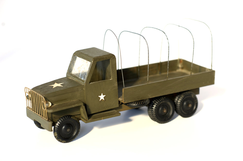 Army Vehicles (3 Pieces)    Unknown    American, 1950s     Painted Wood      N/A Measurements      Notes:     Purchase price $18     LIST PRICE: $45    DESIGNER DISCOUNT PRICE:    LEAD TIME: 3-5 Days Shipping & Handling    QUANTITY IN STOCK: 3    ONLINE PLATFORMS: