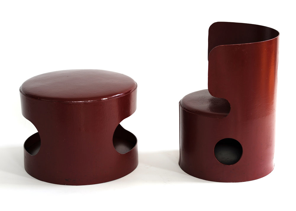 Desk and Chair Jean Louis Avril Production: made in stepfather's cardboard factory in Loiret Loriet, France 1967 molded burgundy Celloderne, lacquered cardboard table: H 12 in, W 17 in; chair: seat H 10 in, back H 20 in, seat W 15.5 in LIST PRICE: $2,600 DESIGNER DISCOUNT PRICE: $2,210 LEAD TIME: 3-5 Days Shipping & Handling QUANTITY IN STOCK: 1 ONLINE PLATFORMS: kM Web, 1st Dibs, Artsy