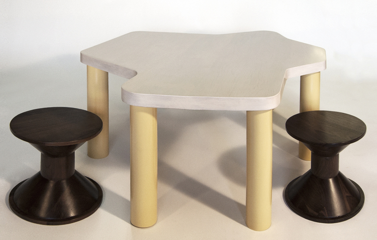 "Stools for John Ashbery (3)     AQQ Design    , Matthew Sullivan      Exclusive collaboration between kM and AQQ      American      contemporary     Walnut     12"" x 12"" x 12""      LIST PRICE: $ 675     DESIGNER DISCOUNT PRICE: $573.72    LEAD TIME: 12-14 Weeks    QUANTITY IN STOCK: 3    ONLINE PLATFORMS: kM Web, Artsy"