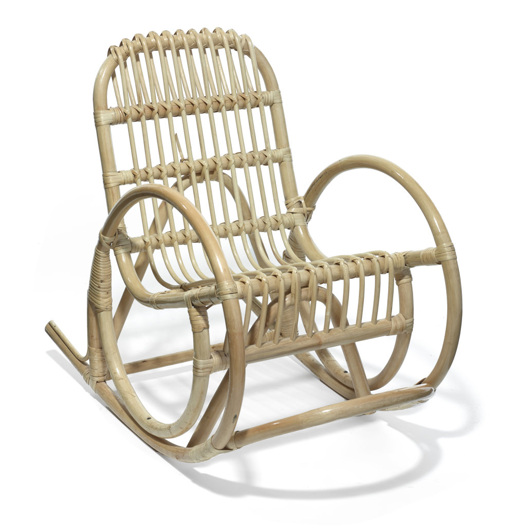 Cane Rocker     Unknown      France      1950s      Rattan, Bamboo      H 23.5 in, W15.5 in, D 28.5 in, Seat H 10 in     LIST PRICE: $375    LEAD TIME: 3-5 Days Shipping & Handling    QUANTITY IN STOCK: 1    ONLINE PLATFORMS: kM Web, Artsy, 1st Dibs