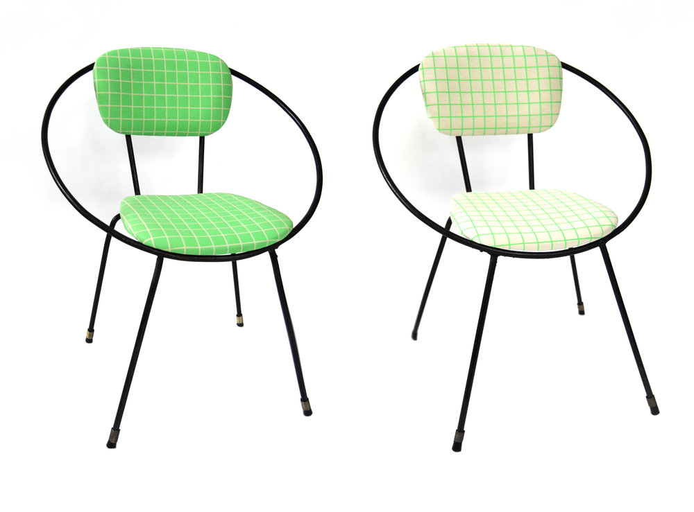 "Iron Circle Chairs     Unknown      American      1950s     Iron     H 20.75 in, W 11 in, D 12.5 in, (Seat: H 10 in)      Notes: Recovered with Maharam fabric ""Bright Grid 466330 / 001 Spring / Scholten & Baijings"", priced as pair     LIST PRICE: $900 (Priced as Pair)    LEAD TIME: 3-5 Days Shipping & Handling    QUANTITY IN STOCK: 2    ONLINE PLATFORMS: kM Web, Artsy, 1st Dibs"