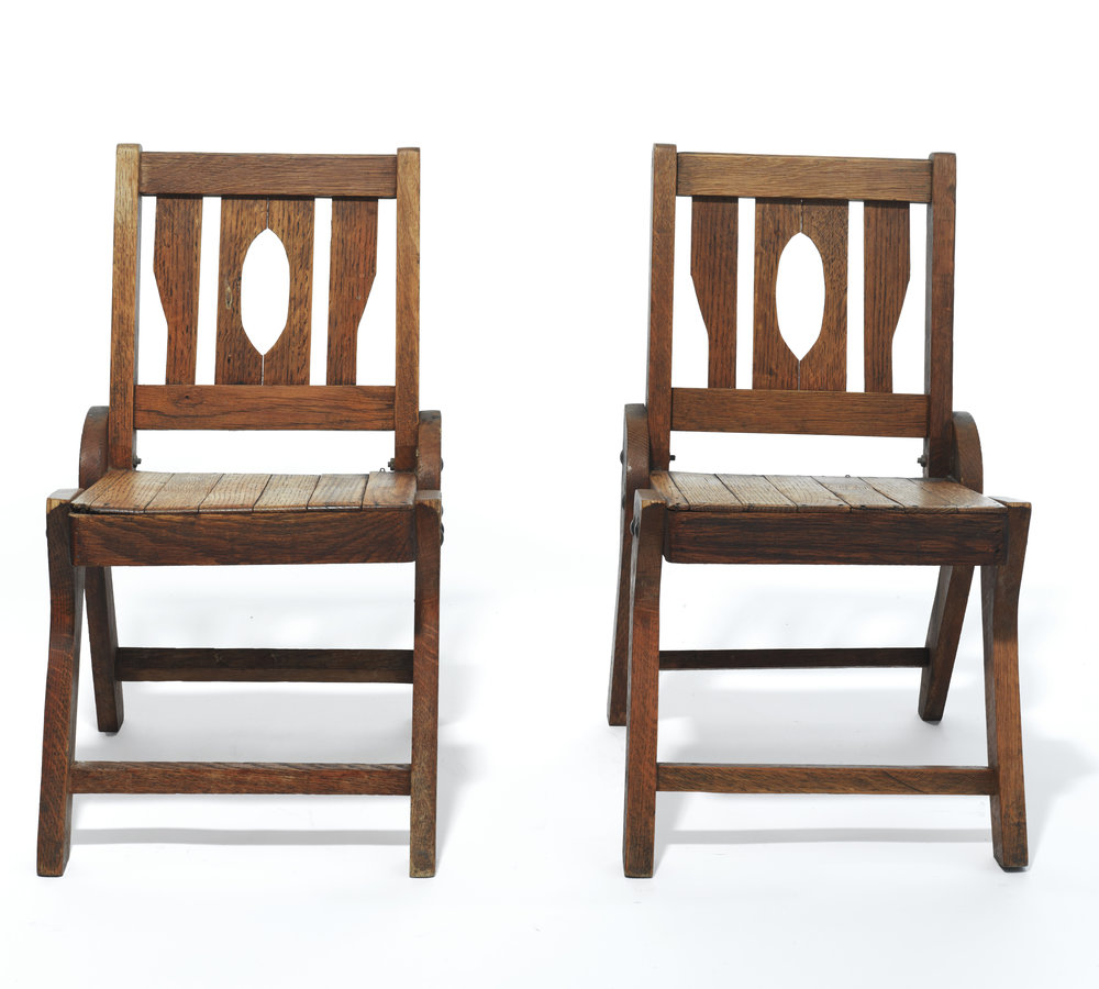 Colorado Chairs     Unknown      USA      1930s     Wood     H 22.5 in, W 13.25, D 16 in, Seat H 11.5 in      Notes: priced as pair     LIST PRICE: $600     DESIGNER DISCOUNT PRICE: $510    LEAD TIME: 3-5 Days Shipping & Handling    QUANTITY IN STOCK: 2    ONLINE PLATFORMS: kM Web, Artsy, 1st Dibs