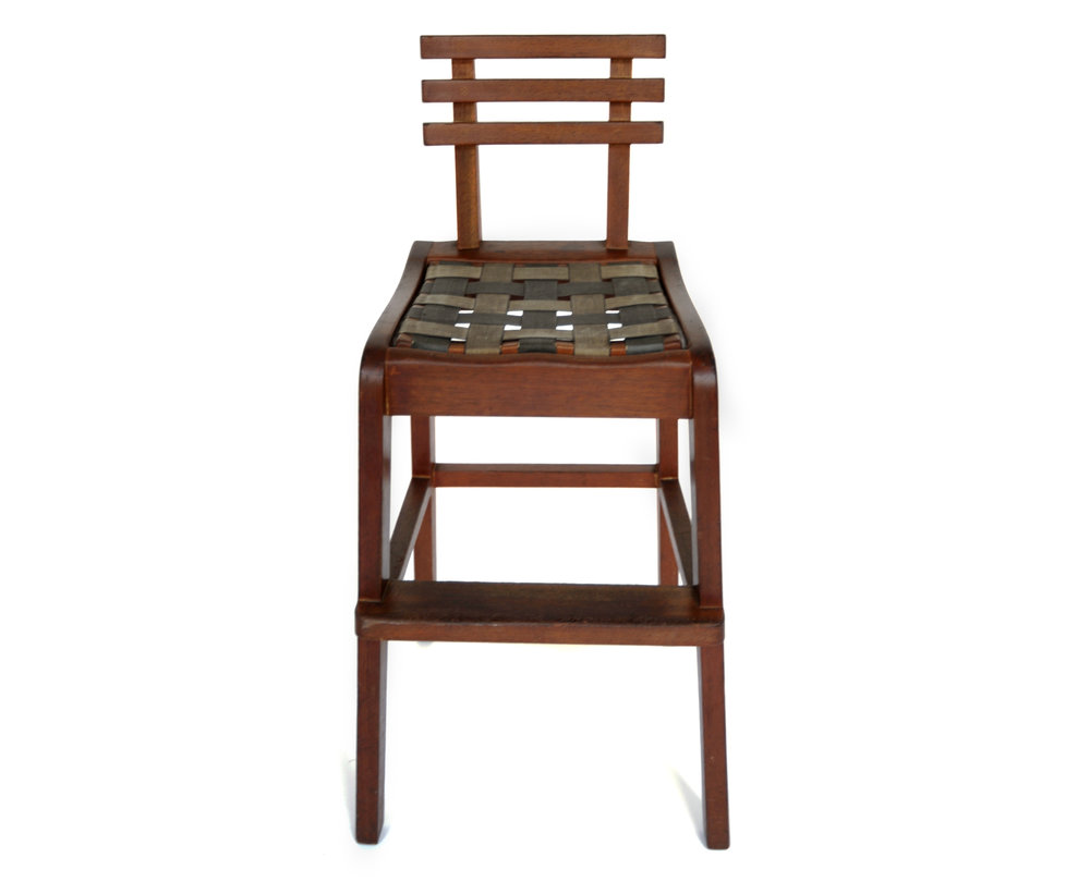 1940s Craft Chair Unknown Designer Unknown Production USA 1940s Wood H 29.25 in, W 12.5 in, D 13.5, SH 20.75 LIST PRICE: $625 DESIGNER DISCOUNT PRICE: $531.25 LEAD TIME: 3-5 Days Shipping & Handling QUANTITY IN STOCK: 1 ONLINE PLATFORMS: kM Web, Artsy, 1st Dibs