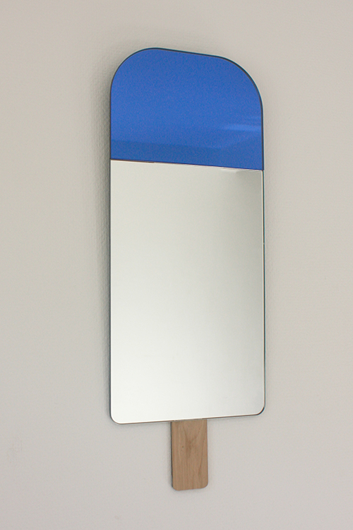 "Ice Cream Mirrors - Blue     Tor Serve + Nicole Vitner Serve      Elements Optimal      Netherlands      2015      glass + european oak      H 22.5"" W 8.75""     LIST PRICE: $195    DESIGNER DISCOUNT PRICE: $167.75    LEAD TIME: 3-5 Days Shipping & Handling    QUANTITY IN STOCK: 1    ONLINE PLATFORMS: kM Web, Artsy"