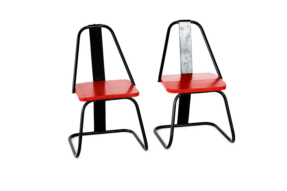"Red & Black Iron Chairs (pair, priced as) Unknown Designer Unknown Origin 1950s Iron Seat H 12.5"" Back H 23"" W 12.25"" D 10"" seat needs work LIST PRICE: $450 DESIGNER DISCOUNT PRICE: $382.50 LEAD TIME: 3-5 Days Shipping & Handling QUANTITY IN STOCK: 2 ONLINE PLATFORMS: kM Web, Artsy, 1st Dibs"