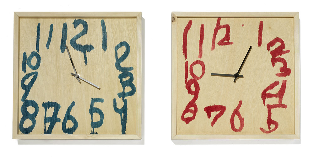 "Clocks     Lucas Maassen for kinder MODERN      Lucas Maassen for kinder MODERN      Netherlands      contemporary/2016      wood, paint, clock      H 12"" W 12"" D 2.5""     LIST PRICE:  $375     DESIGNER DISCOUNT PRICE: $318.75    LEAD TIME: 3-5 Days Shipping & Handling    QUANTITY IN STOCK: 2    ONLINE PLATFORMS: kM Web, Artsy"