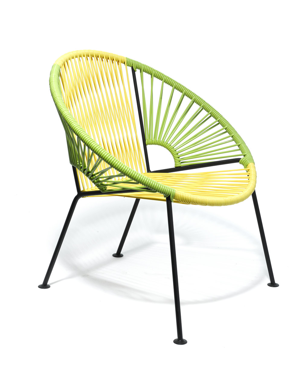 Mini Ixtapa Chair Mexashop Mexashop Production Guadalajara, Mexico Contemporary / 2016 PVC cord, steel frame, wood SH 12.75 in, H 25.5 in, W 24.75 in, D 15.5 in Currently have green/yellow color cord & seafoam/yellow LIST PRICE: $375 LEAD TIME: 3-5 Days Shipping & Handling QUANTITY IN STOCK: 2 ONLINE PLATFORMS: kM Web, Artsy