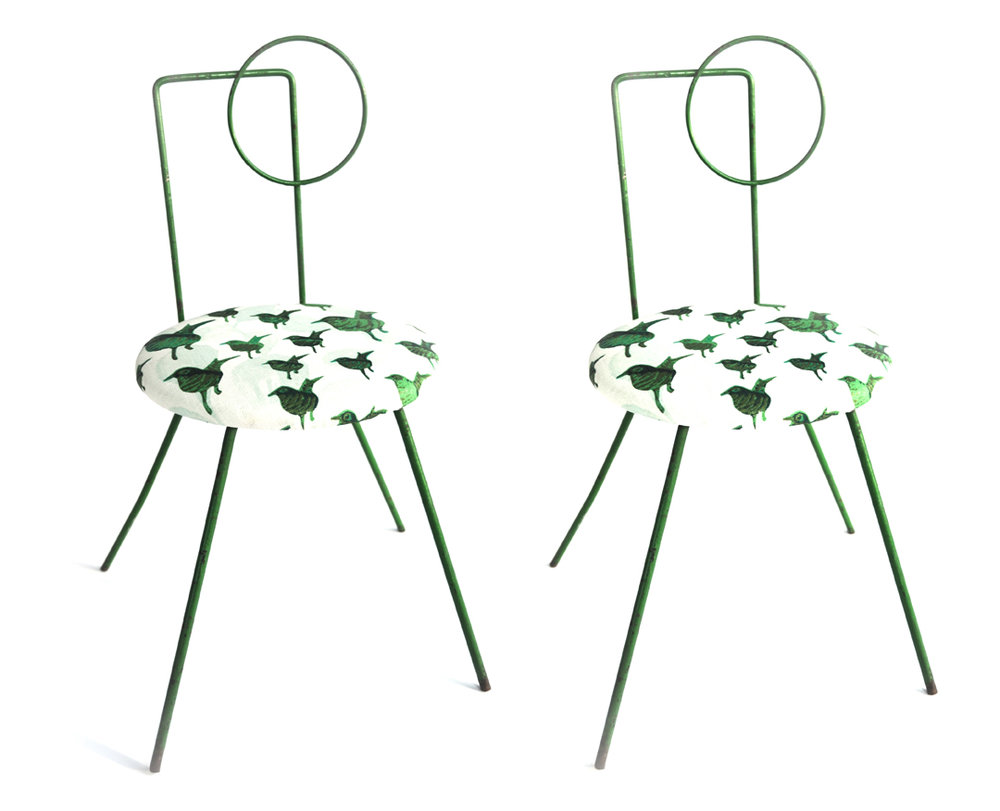 "Green Iron Modernist Chairs     Unknown Designer      Unknown production      Unknown Origin      circa 1930s      Wrought iron, cotton upholstery      H 20.75 in W 11 in seat height 10""      recovered in Lulu DK Fabric     LIST PRICE: $920    DESIGNER DISCOUNT PRICE: $782    LEAD TIME: 3-5 Shipping & handling    QUANTITY IN STOCK: 2    ONLINE PLATFORMS: kM web, Artsy"