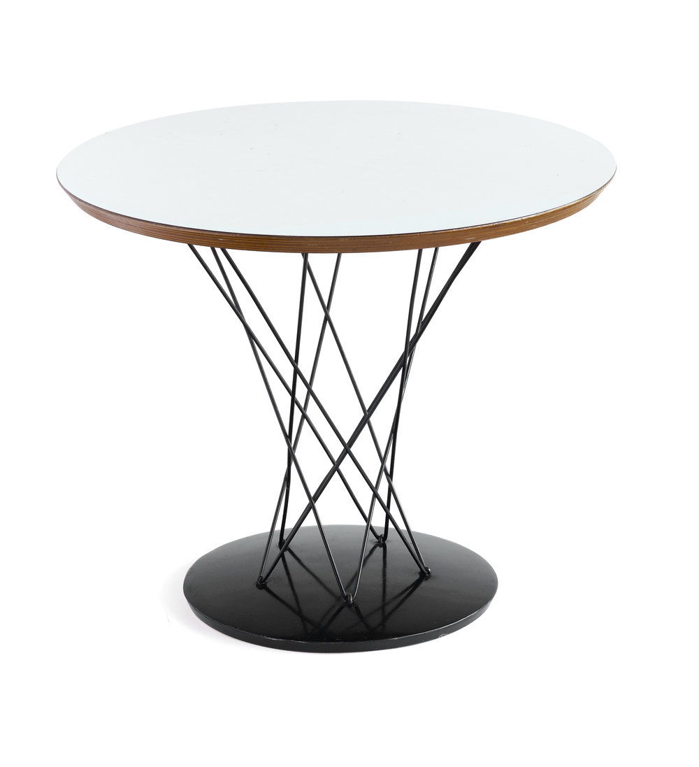 Noguchi Cyclone Play Table     Isamu Noguchi      HG Knoll & Associates      USA      1954      birch plywood, laminated surface, chrome plated steel wire and base      H 20 dia 23.75     LIST PRICE: $2,200    DESIGNER DISCOUNT PRICE: $1,870    LEAD TIME: 3-5 Shipping & handling    QUANTITY IN STOCK: 1    ONLINE PLATFORMS: kM web, Artsy, 1st Dibs