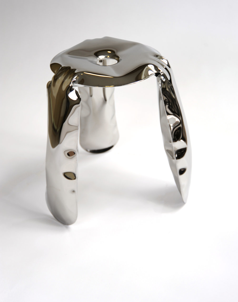 "Plopp Mini Stool (Inox Polished)     Unknown Designer      Zieta Production      Poland     Contemporary     polished stainless steel (inox)      Dia 10"" H 15""     LIST PRICE: $425    DESIGNER DISCOUNT PRICE: $361.25    LEAD TIME: 3-5 Shipping & handling    QUANTITY IN STOCK: 1    ONLINE PLATFORMS: kM Web, Artsy"
