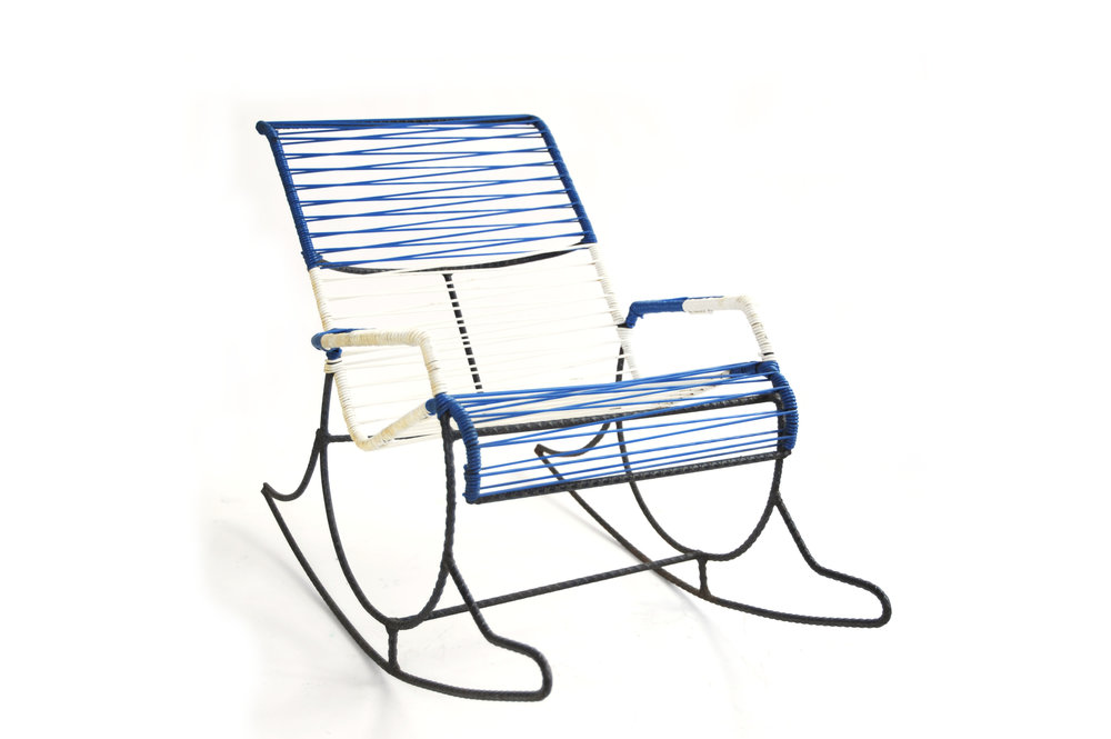 String Rebar Rocker     Unknown Designer      Unknown Production      USA      1950s     rebar, original string      Back H 19 in, W 13.75 in, D 27.5 in (Seat: H 8 in)     LIST PRICE: $600    DESIGNER DISCOUNT PRICE: $510    LEAD TIME: 3-5 Shipping & handling    QUANTITY IN STOCK: 1    ONLINE PLATFORMS: kM Web, Artsy, 1st Dibs