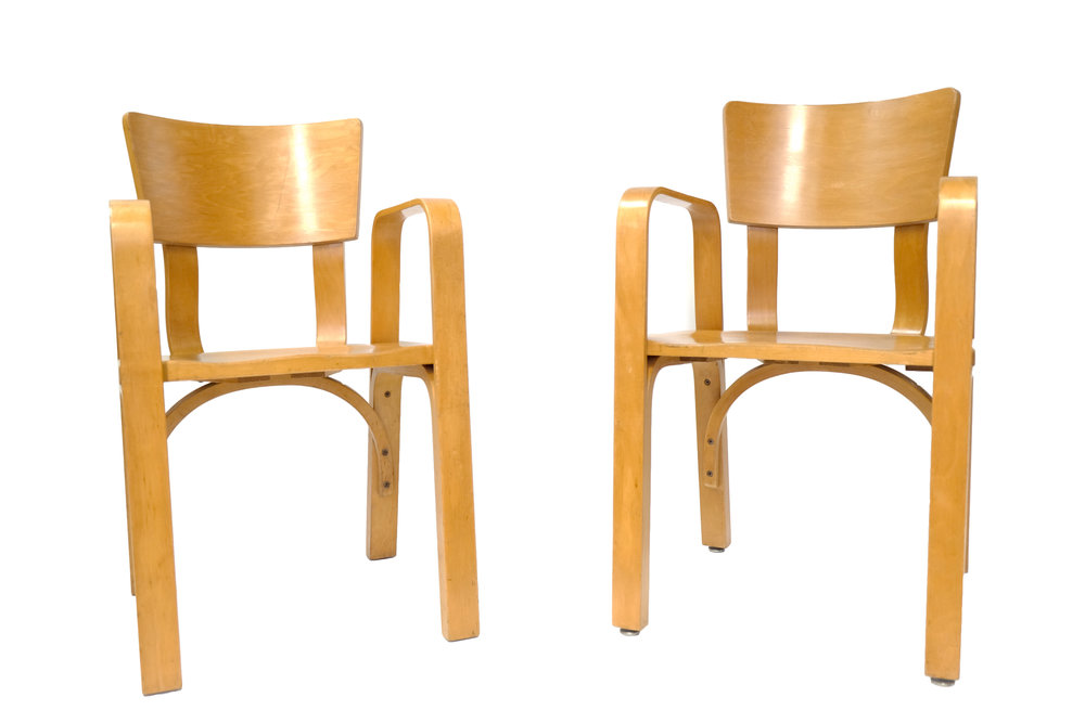 "4 Thonet Bent Wood Child's Chairs (priced as set) Thonet Unknown Production German unknown date Honey Colored plywood 29.875"" x 17"" x 16"", Seat Height 16.25"" LIST PRICE: Cube $1,600 DESIGNER DISCOUNT PRICE: $1,360 LEAD TIME: 3-5 Days QUANTITY IN STOCK: 4 ONLINE PLATFORMS: kM Web, Artsy, 1st Dibs"