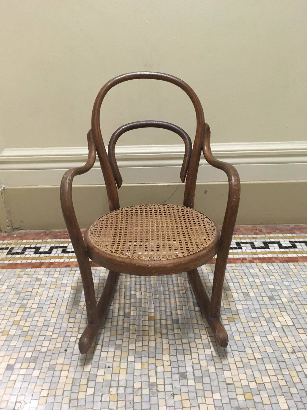 Thonet Rocker Thonet Unknown Production German 1950s rattan and wood H 24 in, W 14 in, D 25 in, Seat H 11 in LIST PRICE: Cube $400 (sale $50) DESIGNER DISCOUNT PRICE:  LEAD TIME: 3-5 Days QUANTITY IN STOCK: 1 ONLINE PLATFORMS: kM Web, Artsy, 1st Dibs