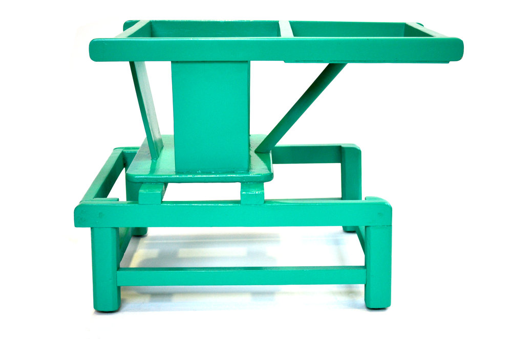 "Tot Playchair Unknown Designer Unknown Production USA Unknown Date lacquered wood Seat H 8.5"" Back H 17.75"" W 15"" D 21"" LIST PRICE: Cube $825 DESIGNER DISCOUNT PRICE: $701.25 LEAD TIME: 3-5 Days QUANTITY IN STOCK: 1 ONLINE PLATFORMS: kM Web, Artsy, 1st Dibs"