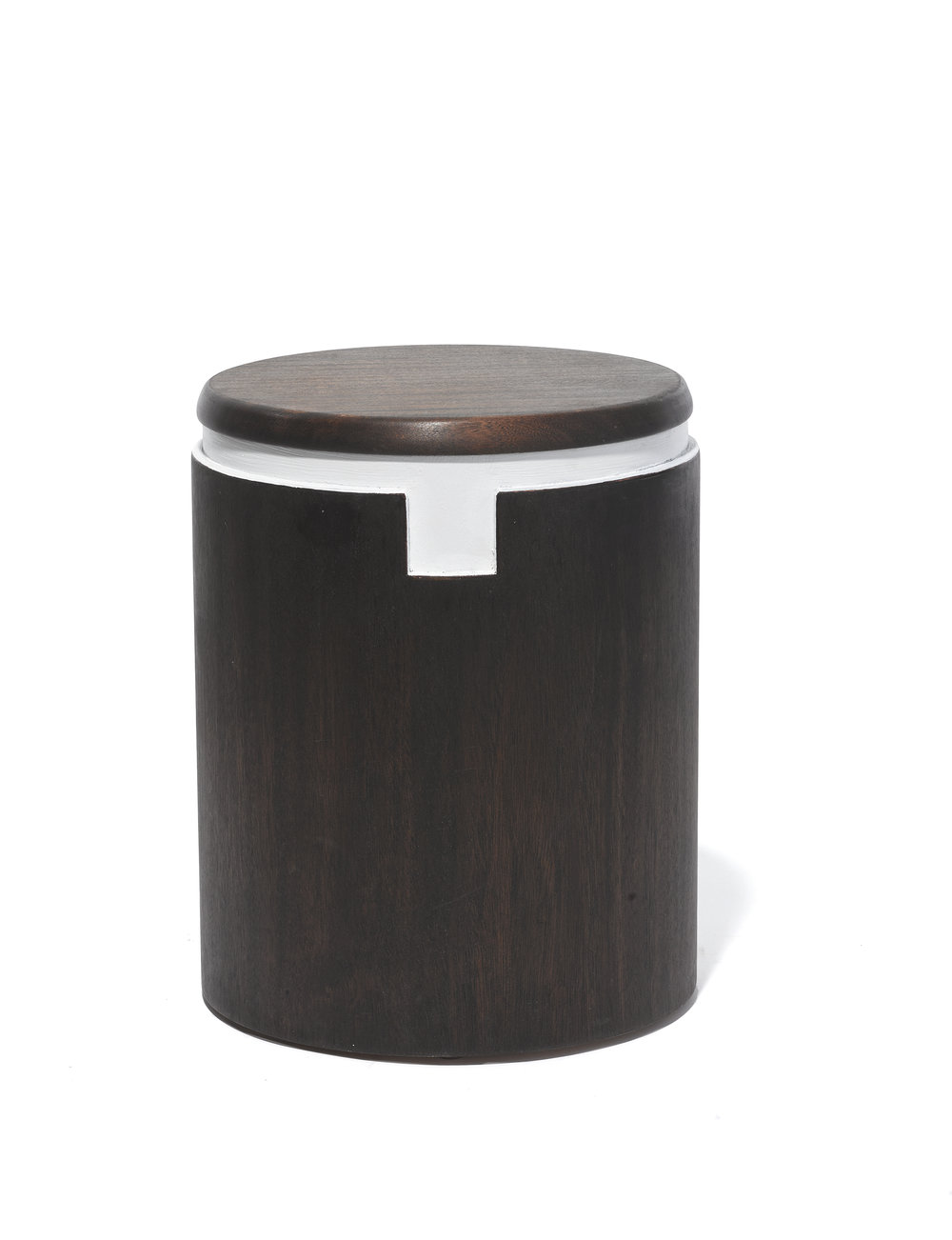 Bishop Stool - Dark Michael Yates Michael Yates USA (Austin, TX / Brooklun, NY) 2016 Wood H 14.75 in, Dia 11.25 in 10 lbs. LIST PRICE: Cube $450 DESIGNER DISCOUNT PRICE: $ LEAD TIME: 3-5 Days QUANTITY IN STOCK: 1 ONLINE PLATFORMS: kM Web, Artsy,