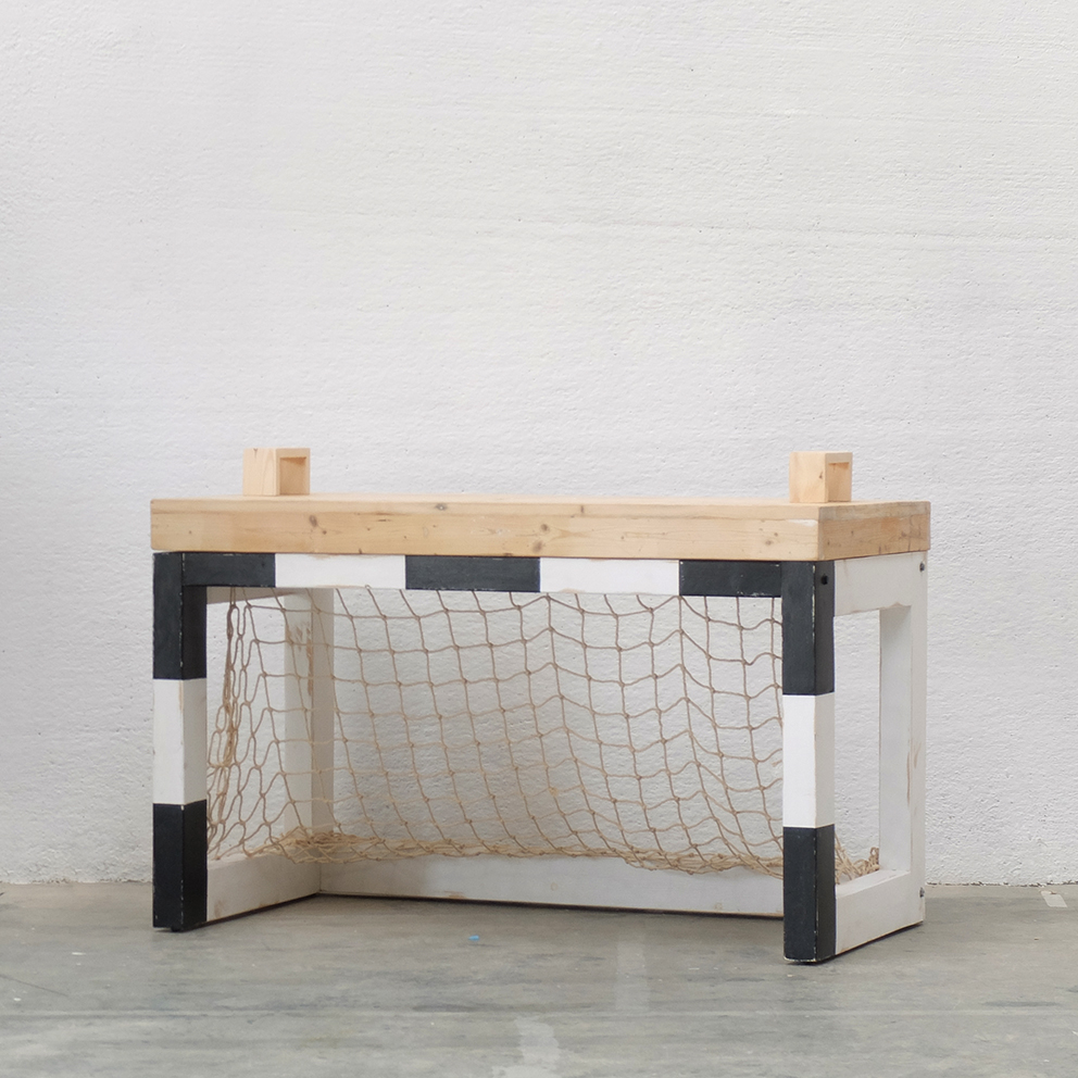 "Jan ""Soccer"" Table     XO-inmyroom      XO-inmyroom      Barcelona, Spain      2015      Natural wood, painted; knotted cotton net in traditional Spanish ""fisherman"" style      H 30.75 in, W 51 in, D 25.5 cm     LIST PRICE:  Cube $1,850     DESIGNER DISCOUNT PRICE: $1,572.50    LEAD TIME: 8 weeks      QUANTITY IN STOCK: 1    ONLINE PLATFORMS: kM Web, Artsy,"