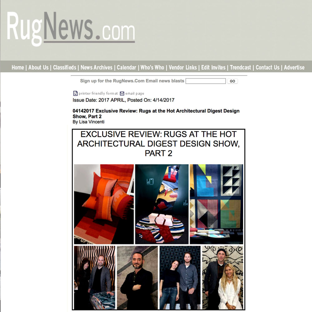 RugNews.com, Rugs at the Hot Architectural Digest Design Show, 2017