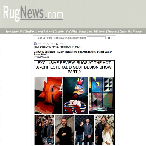 Rug News, Rugs at the Hot Architectural Digest Show 2017