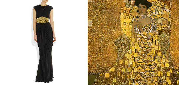 Art as Fashion Muse:    When I saw the gold detailing in this McQueen dress I instantly thought of the works of Gustav Kilmt.   Graphic by Kari Hansbarger.