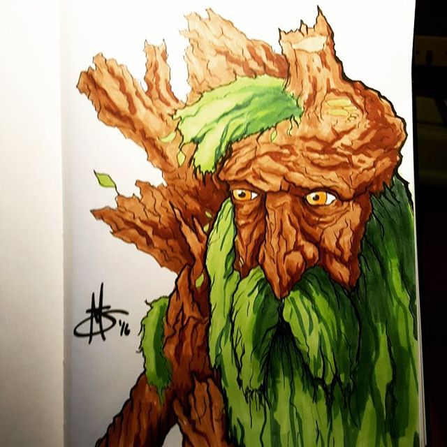 "#inktober word of the day is #tree so here's #treebeard from #lotr ""These trees were my friends..."" #ent #ink #inktober2016 #drawing #comic #cartoon #fantasy #lordoftherings #hobbit #copicmarkers"