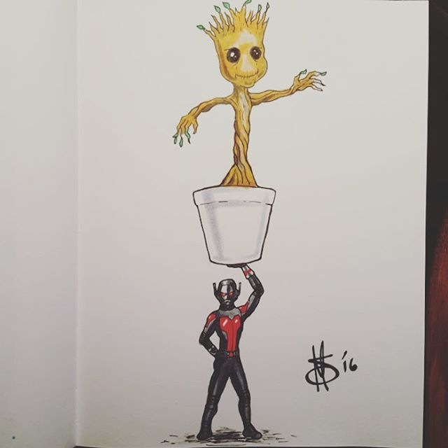 #inktober Day 22 the word is #little so here's #AntMan holding up #babyGroot! #groot #marvel #ink #comics #drawing #inktober2016 #cartoon #sketch #saturdaysare #artist #art #artofinstagram