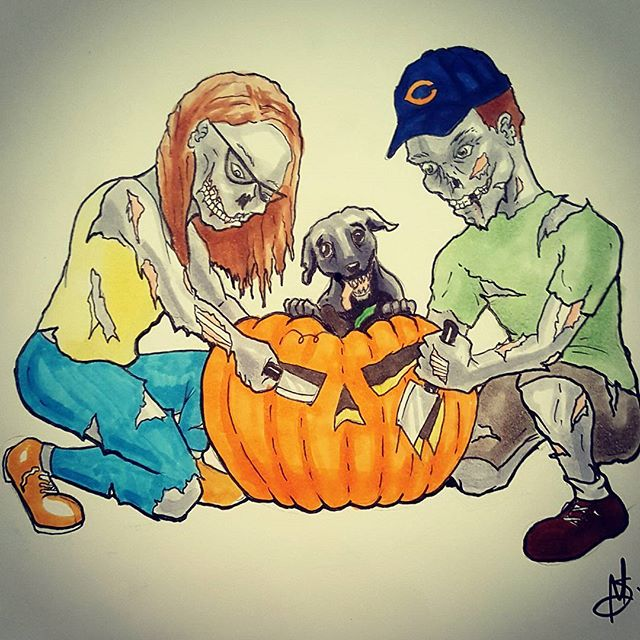 Commission I did for a friend's wedding invites #halloween #wedding #zombie #pumpkin #art #artofinstagram #drawing #chicagoartist #illustration