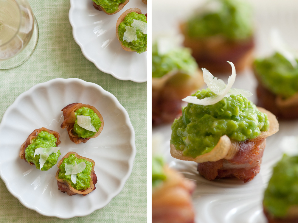 garlic pea puree in pancetta cups