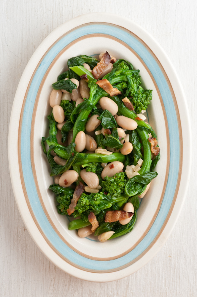 Rapini, broccoli rabe, white bean, bacon and garlic