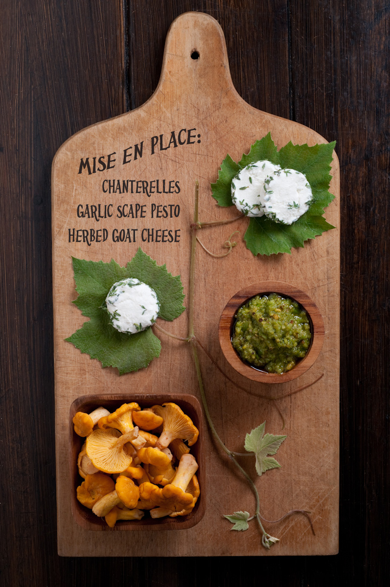 cutting board mushrooms pesto goat cheese
