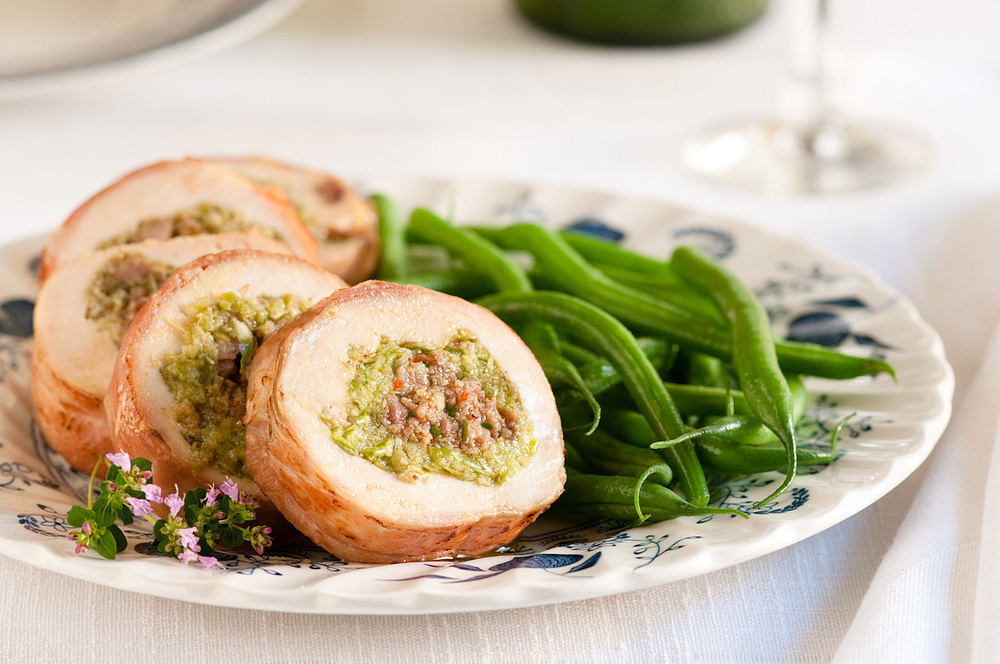 chicken breast stuffed with sausage and garlic scape pesto