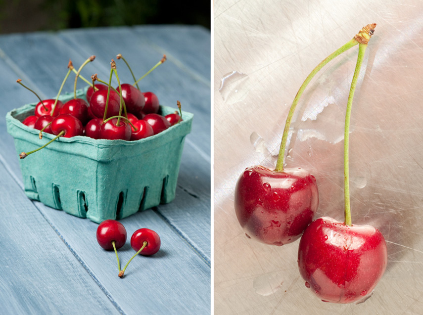 quart cherries on blue table