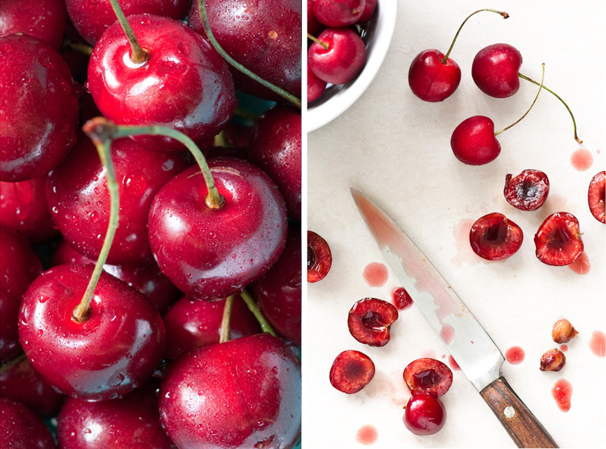 pitting red cherries