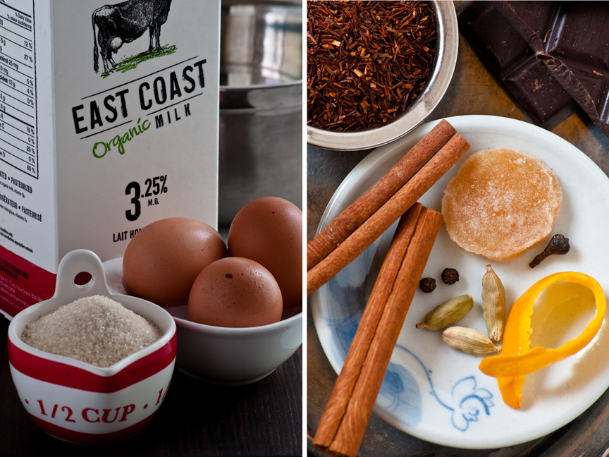 milk, eggs, sugar, chai spices mize enplace
