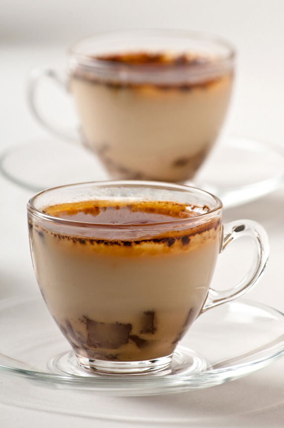 espresso cup with chai spiced creme brulee