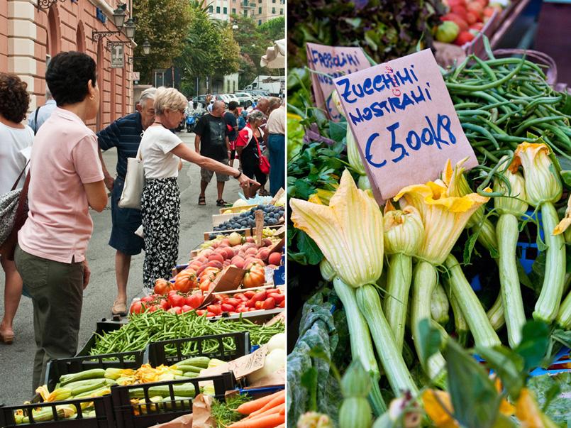 Camogli Farmers Market Zucchini Blossoms on offer