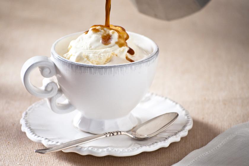 splash of espresso over ice cream