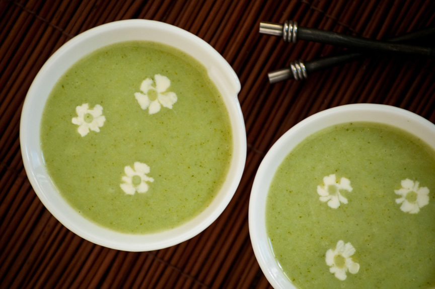 broccoli soup with flower garnish
