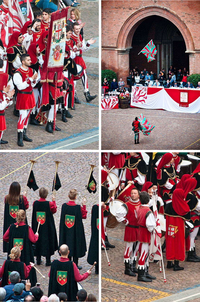 Alba's Truffle Festival: a beautiful flag throwers exhibition in the Piazza just in front of the arches of the San Lorenzo Cathedral.