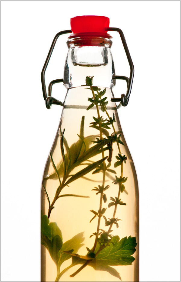 Parsley, sage, rosemary, and thyme infused white wine vinegar.