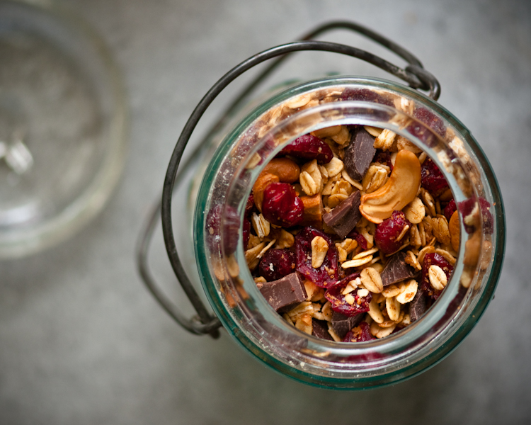 vintage glass jar of homemade granola