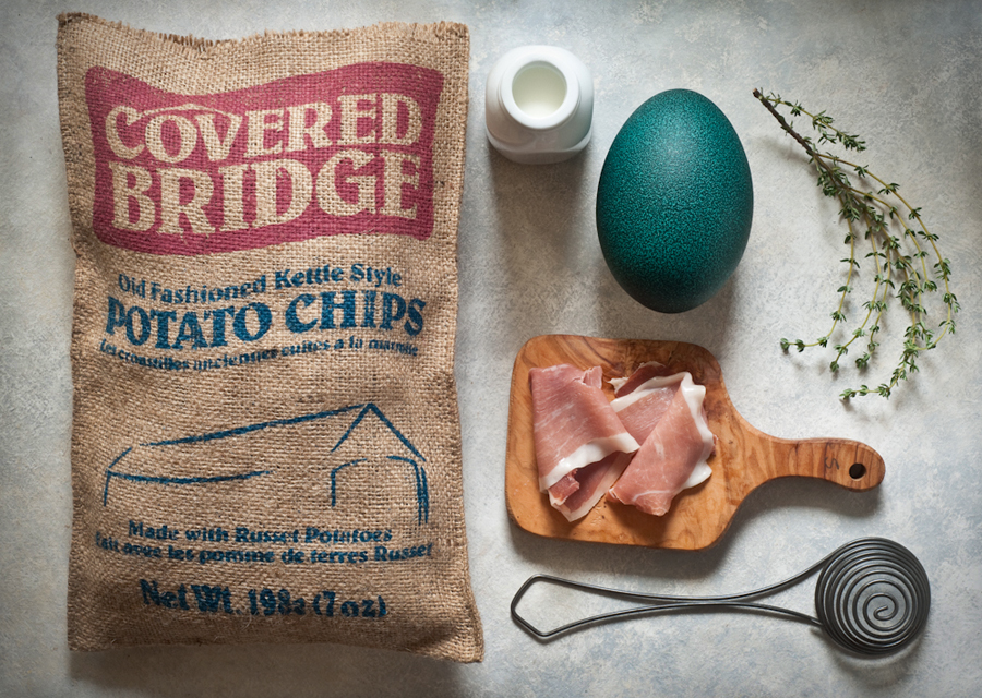 Mise en Place: Emu Egg Potato Chip Frittata