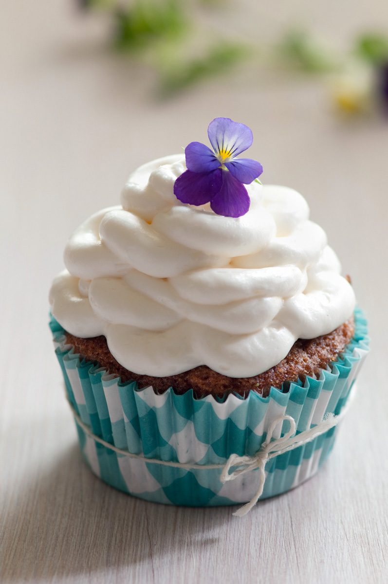 cupcake with flower garnish