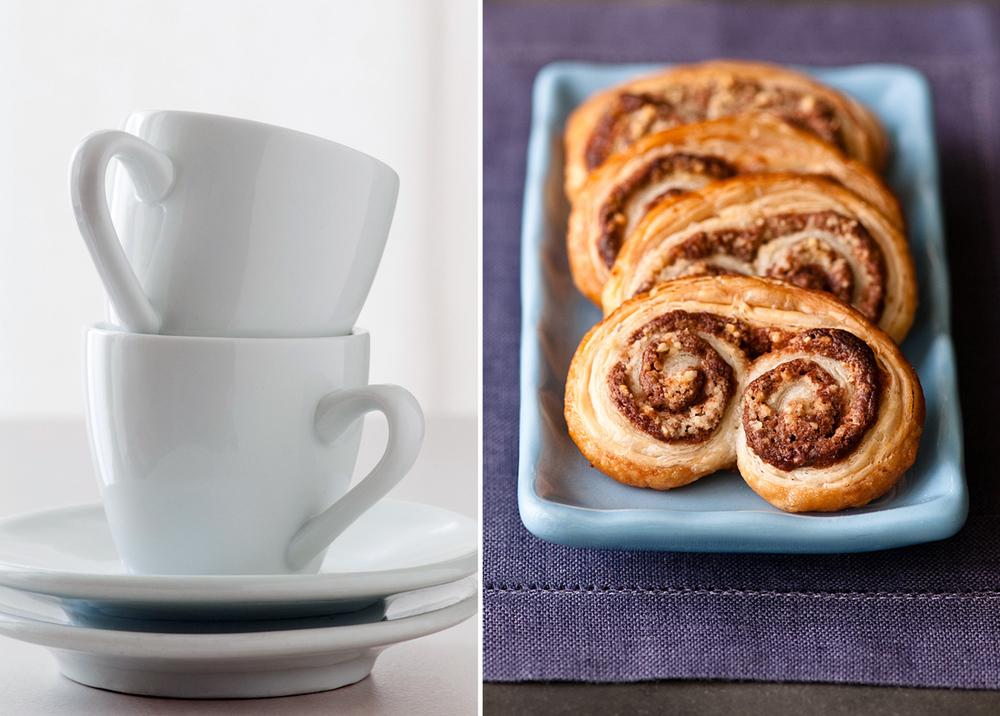 white espresso cups & nutella palmiers