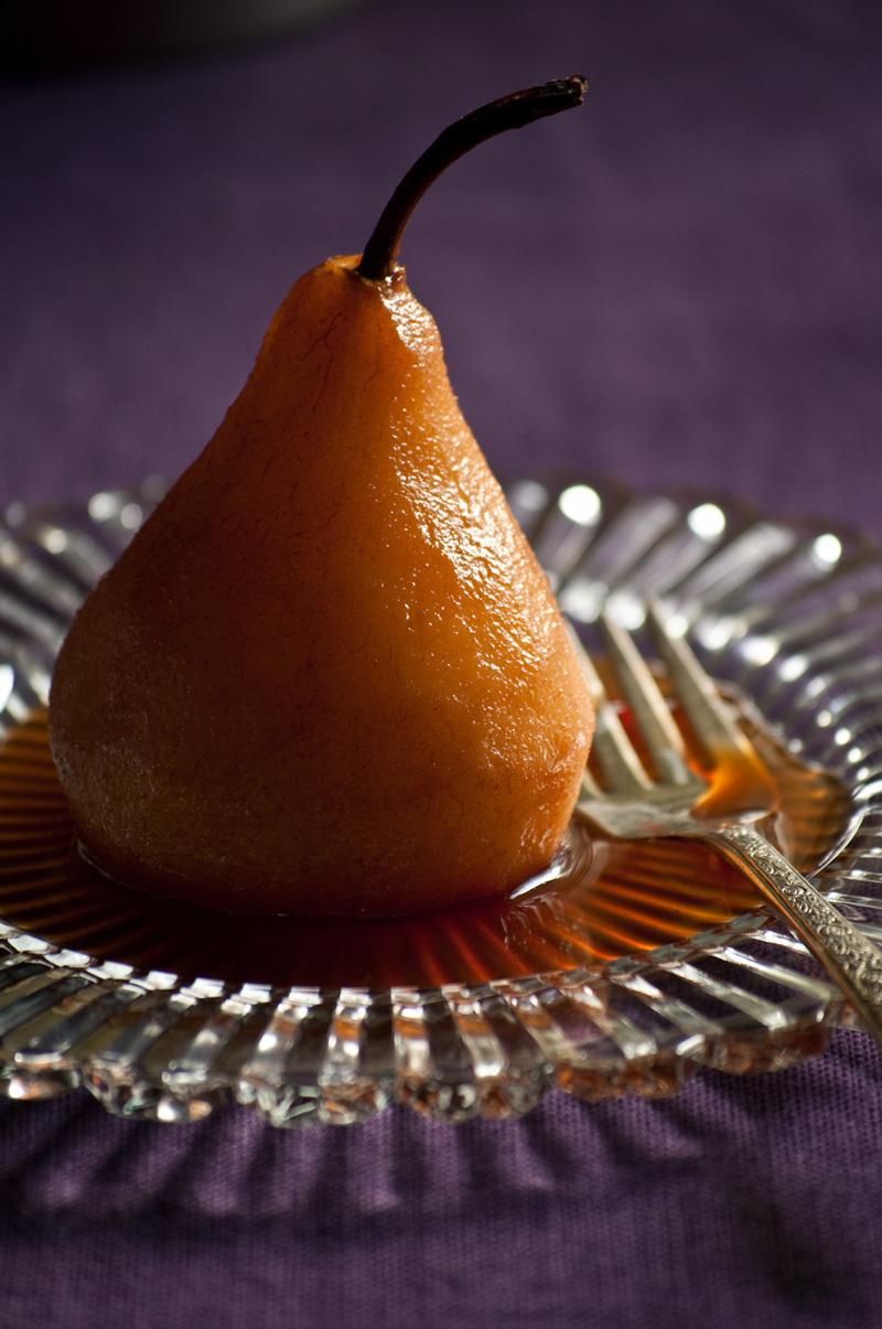 pear poached in Earl Grey tea