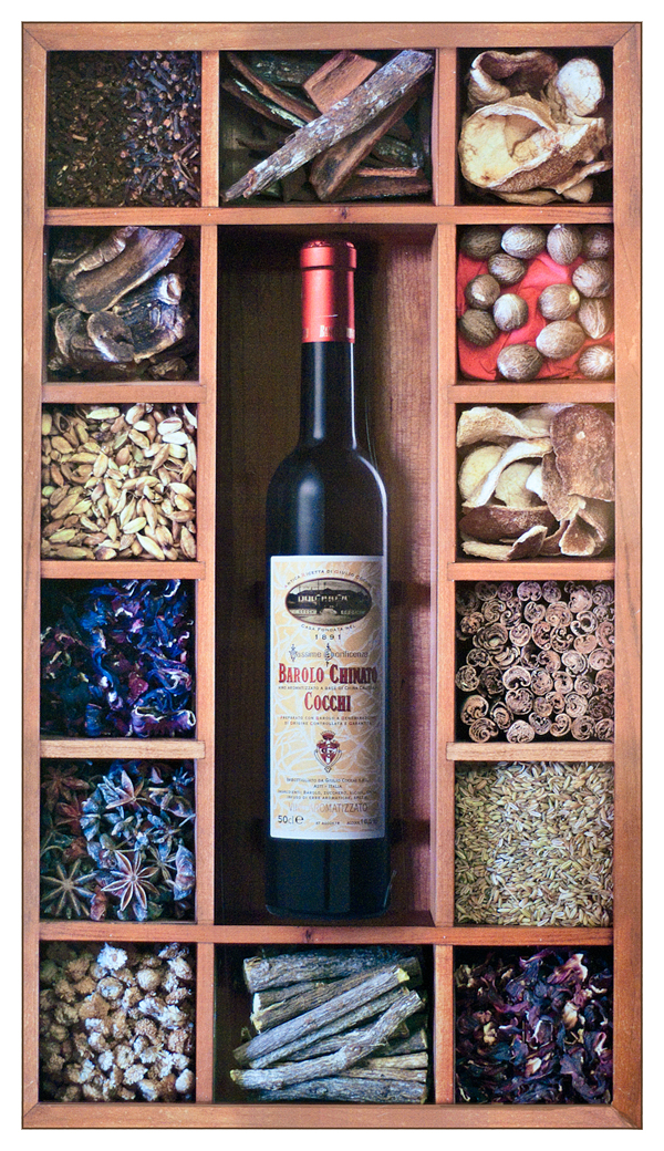This poster at the winery reveals the 'secret' ingredients in Barolo Chianto Cocchi, but no recipe was forthcoming...