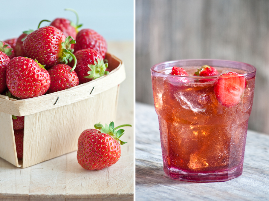 fresh strawberry shrub soda