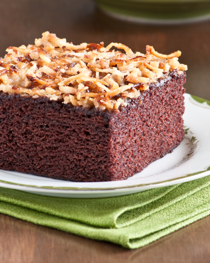 slice of chocolate coconut cake