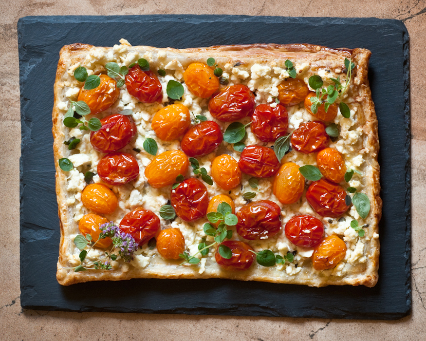 tomato and feta tart with oregano