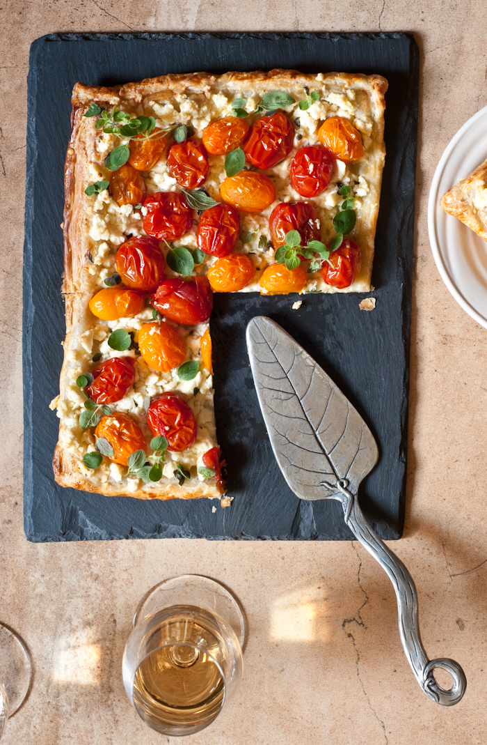cherry tomato tart on puff pastry